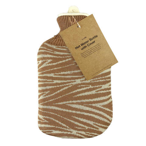 2L Hot Water Bottle with Cover - Zebra Knit
