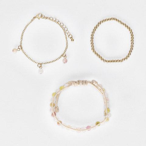 3 Pack Multi Strand Bracelets - Pink