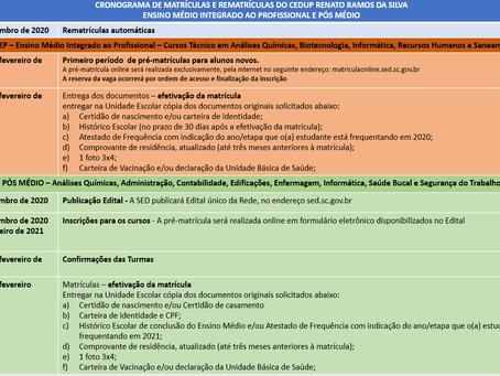 Cronograma de Matrículas e Rematrículas