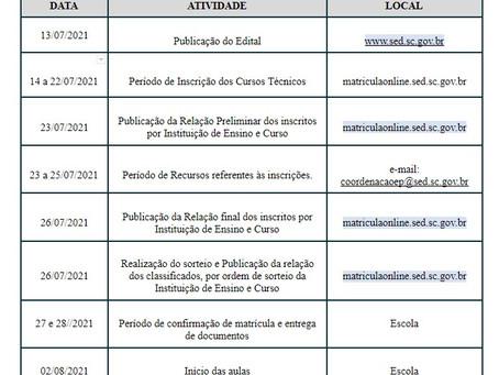 Atenção Cronograma Matrículas Técnico Pós - Médio