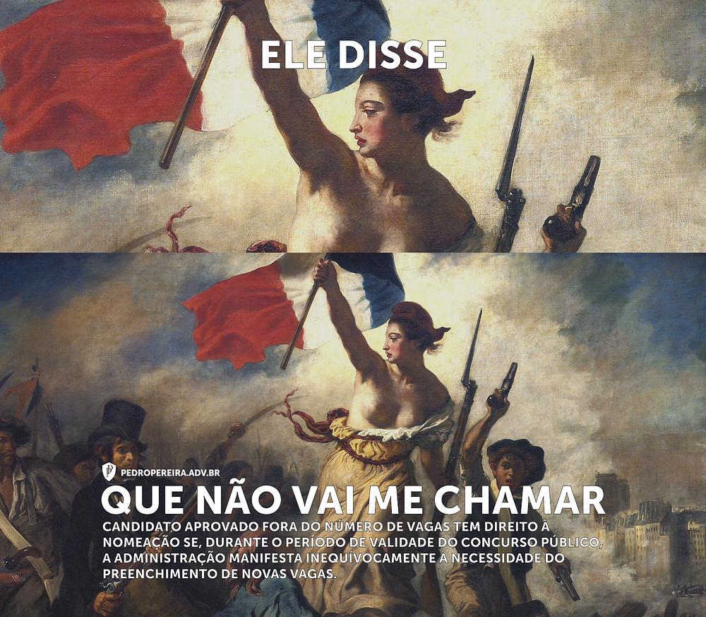"""A arte é uma adaptação da obra """"A Liberdade Guiando o Povo"""", de Eugène Delacroix."""