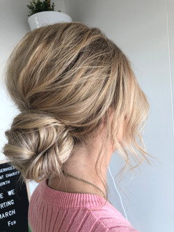 Textured low knot bun