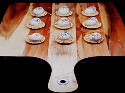 Quail Eggs Tartlets on Board