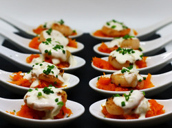 Prawn on Pumpkin Spoons on plater