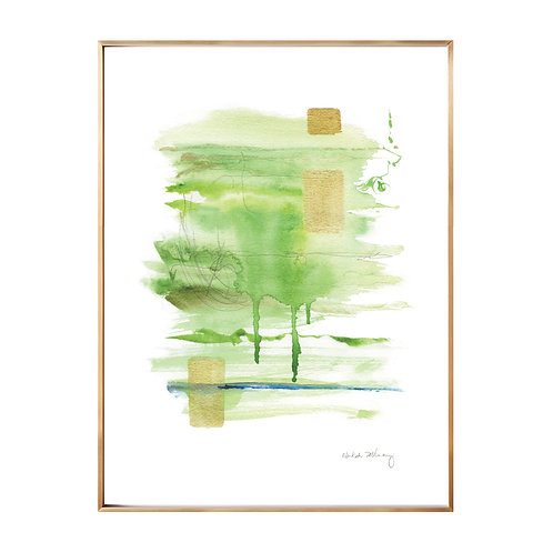 Green Flow Original Watercolor and Gold Leaft