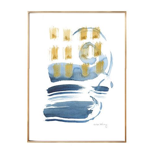Wave Rhythm Original Watercolor with Gold Leaf