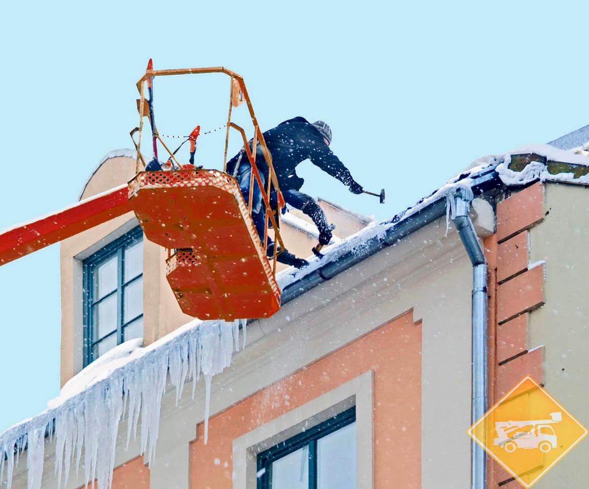 Чистка кровли от снега аренда автовышки
