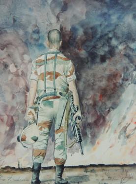 Freddy soldat du RIMA de retour de la guerre du Koweït - Aquarelle