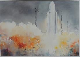 Tir Ariane 5 Kourou - Aquarelle