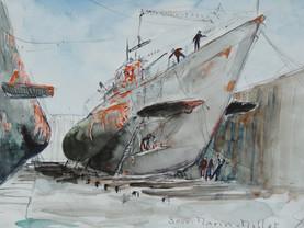 Sous-marin U471 rebaptisé Millet en carénage - Dessin aquarellé