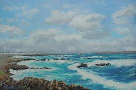 Mer agitée à la pointe de Quiberon - Peinture