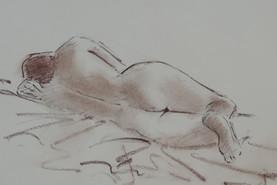 Le dos de Katel à l'Académie du Moustoir - Fusain et sanguine