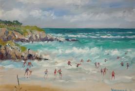 Dans les vagues de Port-Donan à Belle-Île - Peinture