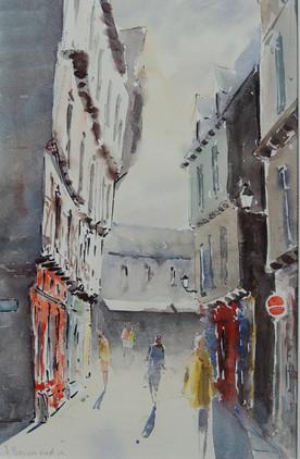 La rue St Salomon à  Vannes -  Aquarelle
