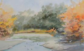 Automne sur la rivière du Vincin - Aquarelle