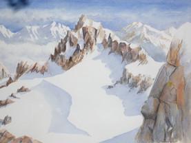 À plus de 3000 m dans les Alpes - Aquarelle