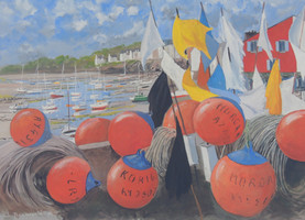 Quai des Pêcheurs à Sauzon à Belle-Île - Gouache
