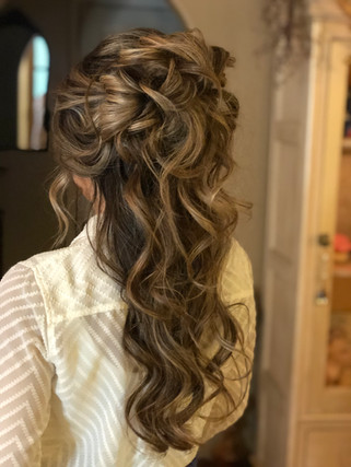 half up half down hairstyle for bridal party or Bride - Yosemite Wedding or Elopement