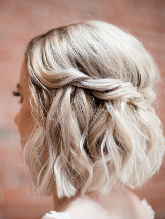 half up half down hairstyle for bridal party or Bride short hair - Yosemite Wedding or Elopement