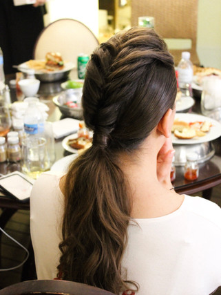 faux hawk updo for bridal party