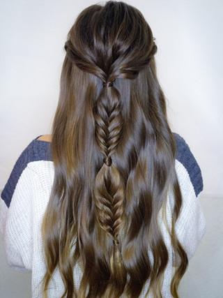 Boho Braid half up half down hairstyle - Yosemite Elopement hair