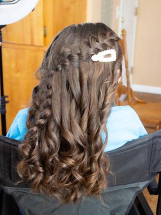 waterfall braid for flower girl Yosemite national park elopement wedding