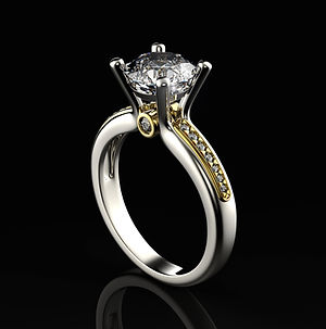 White and yellow gold diamond engagement ring