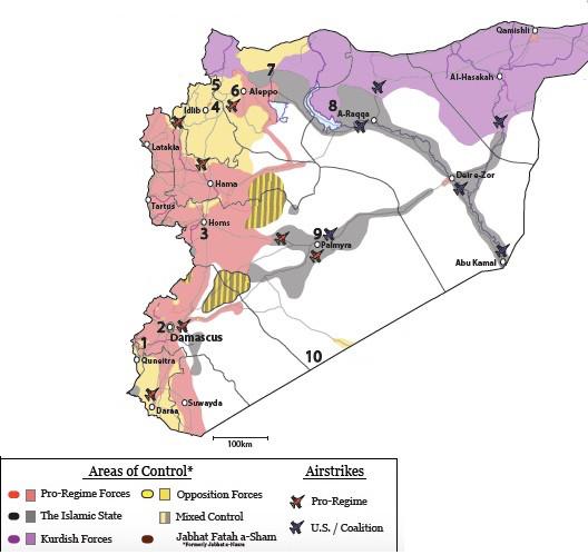 Carte de la situation militaire actuelle en Syrie. Source: Institute for the Study of War
