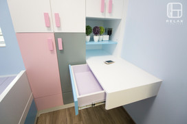 Lower Bed with wardrobe and desk