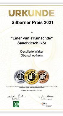 DLG Urkunde_Sauerkirschlikör Silberner Preis 2021.jpeg