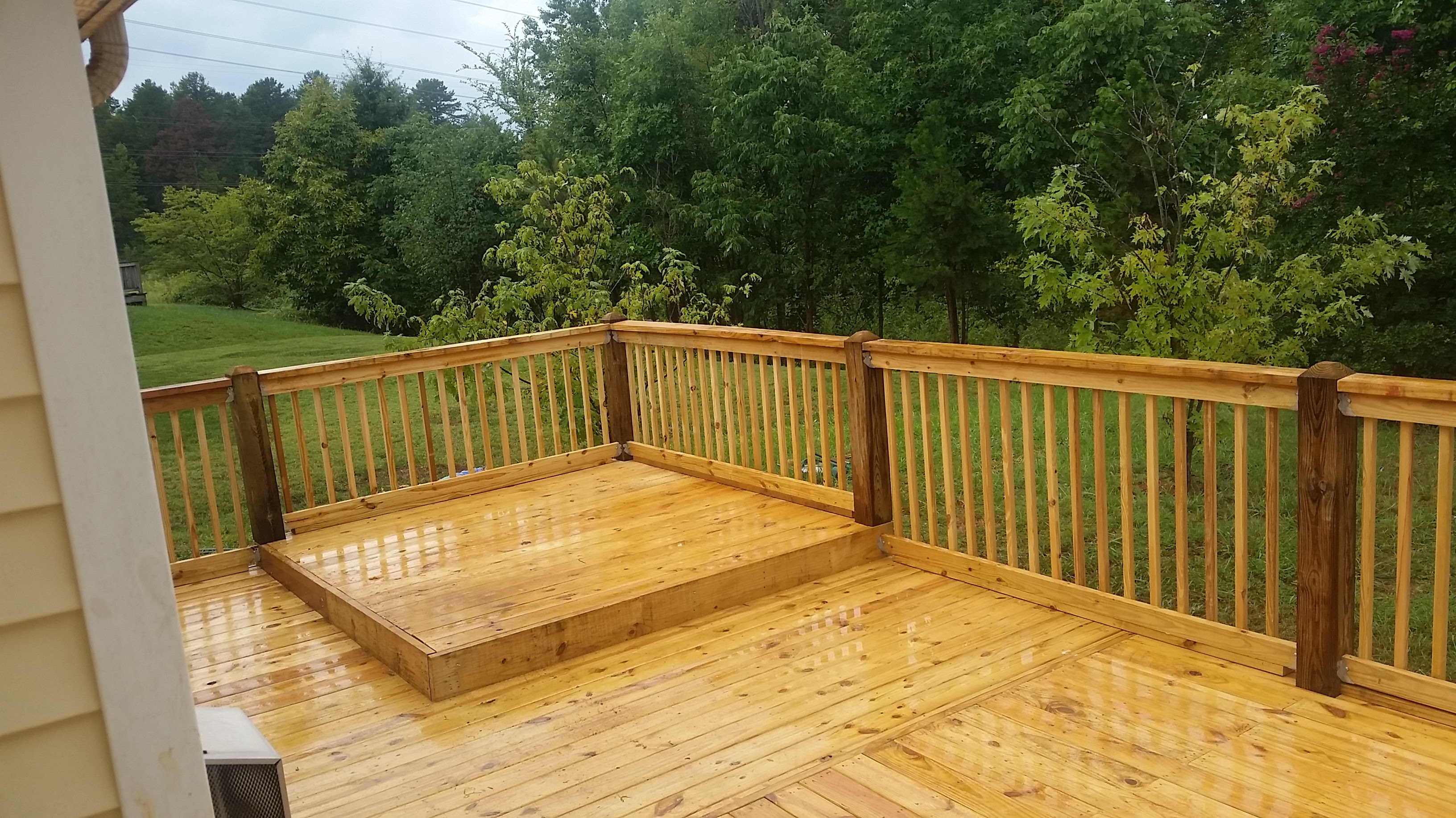 Deck with raised grilling area