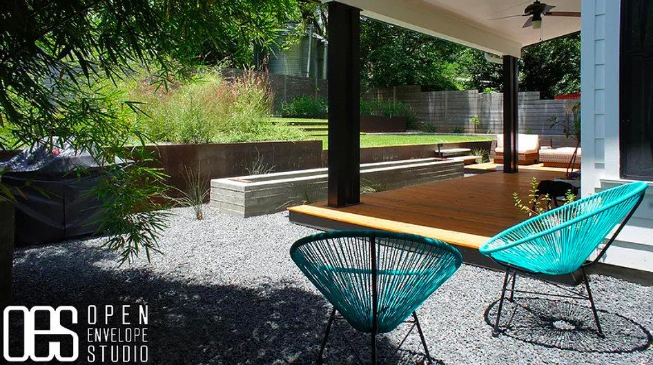 OES | custom fountain with Texas basalt, and cedar deck
