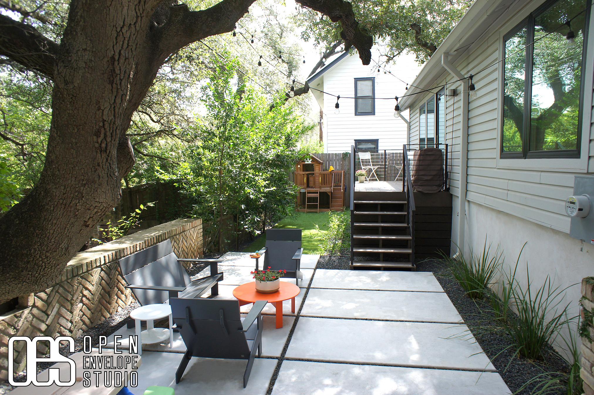OES | concrete pavers, Texas basalt gravel, vegetation, artificial turf, deck cladding