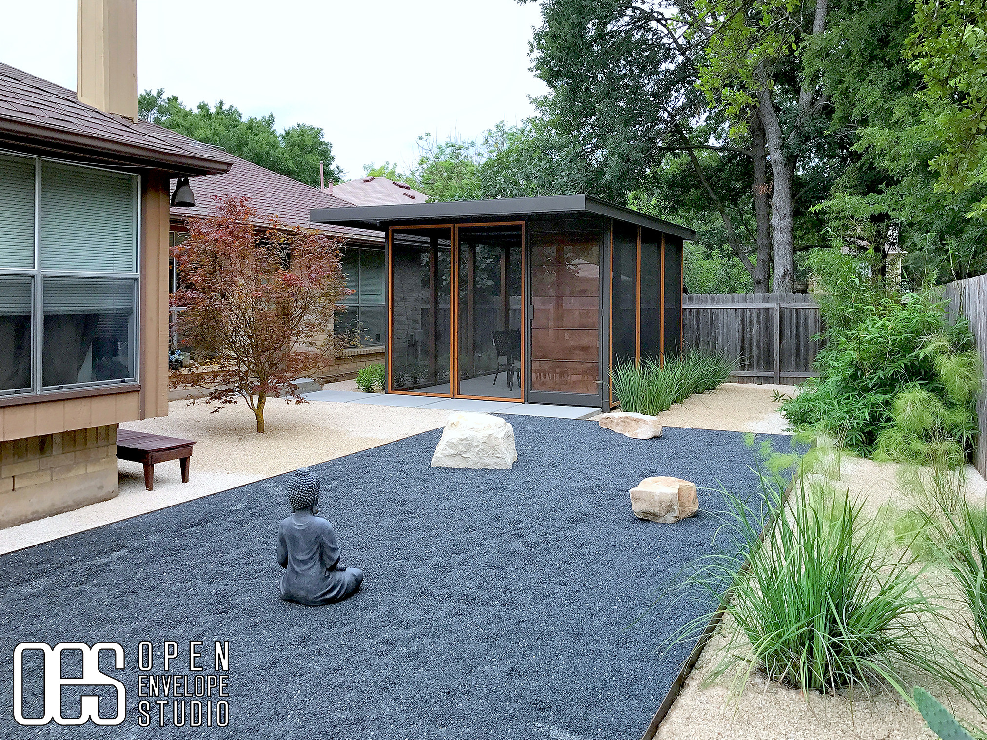 OES | Japanese-tea-house-inspired screened-in porch, Texas basalt rock garden with limestone borders, drought tolerant plants