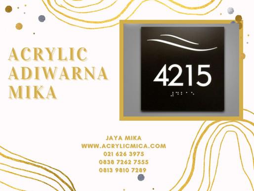 Akrilik Adiwarna Mika warna putih susu dikombinasikan dengan metal untuk room number (nomor ruangan)
