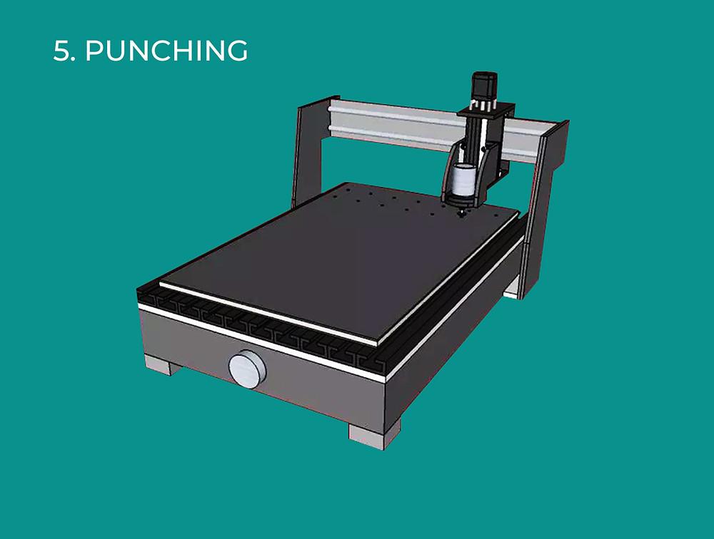 Cara Ke-5 Teknik Fabrikasi Untuk ACP Aluontop & ACP Masterbond Yaitu Punching