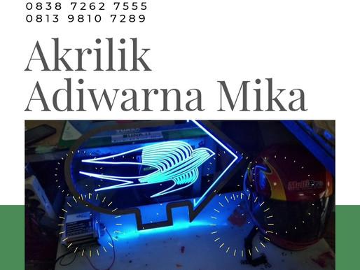 Akrilik Adiwarna Mika dan Lampu Led Warna Biru