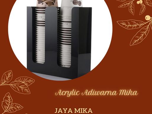 Akrilik Adiwarna Mika warna hitam untuk produk tempat dispenser paper cup