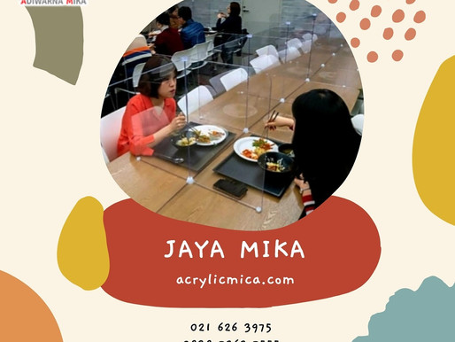 Akrilik Adiwarna Mika dapat dibuat menjadi partisi di food court, restoran, ruang makan di kantor