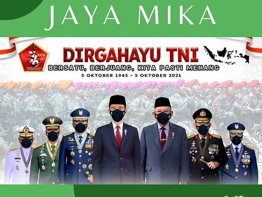Jaya Mika mengucapkan Dirgahayu Tentara Nasional Indonesia ke 76 tanggal 5 Oktober 2021