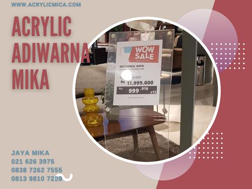Clear Acrylic Adiwarna Mika bisa digunakan untuk tempat display harga suatu produk