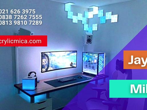 Contoh penggunaan akrilik untuk desain interior ruangan, tata cahaya dan komputer