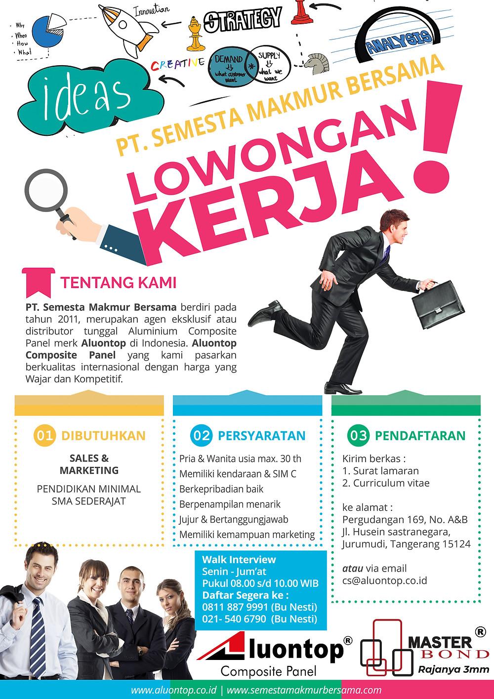 PT. Semesta Makmur Bersama Membuka Lowongan Kerja Sales & Marketing