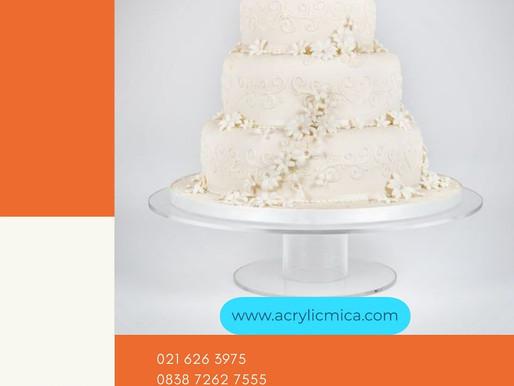 Akrilik Adiwarna Mika untuk tempat tatakan atau dudukan kue pernikahan atau kue ulang tahun