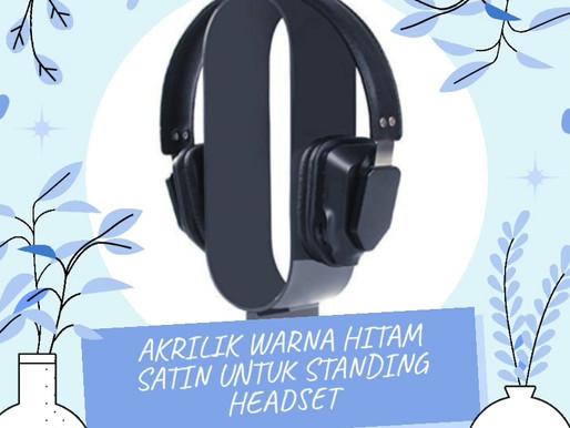 Akrilik Adiwarna Mika warna hitam satin untuk standing headset musik