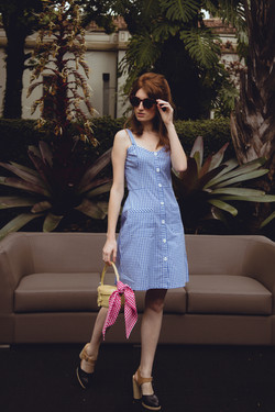 Vestido Brigitte Xadrez Azul