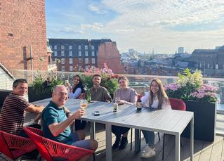 Enjoying our new terrace!