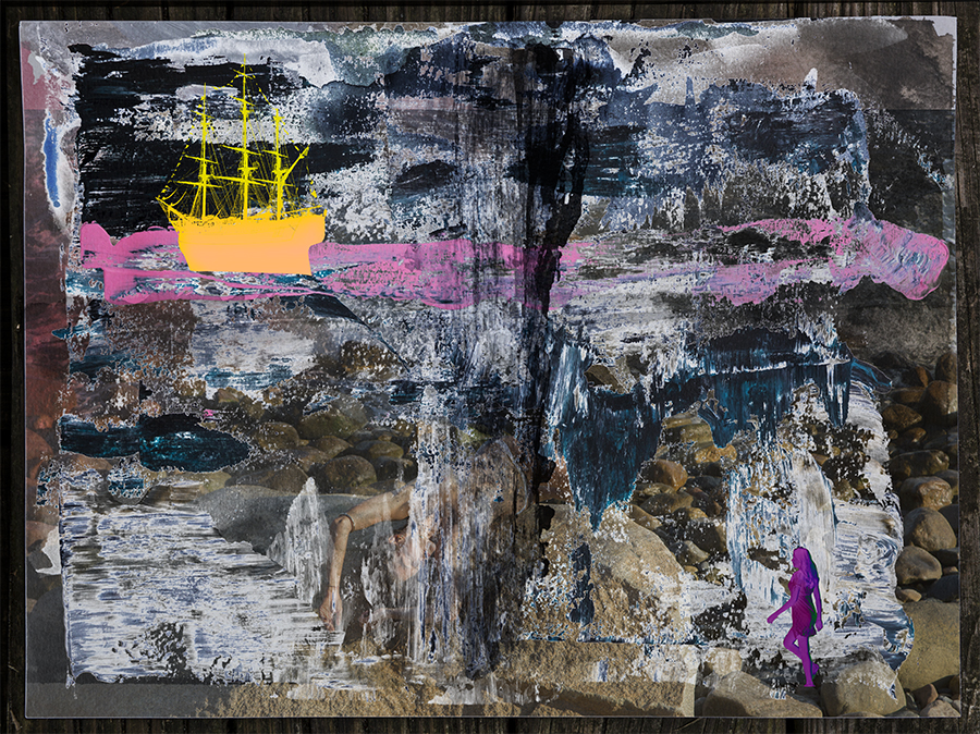 Untitled Collage with yellow boat