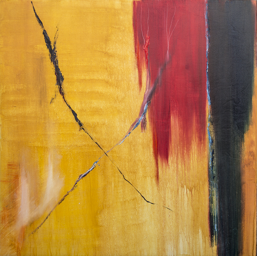 Abstract with red and gold