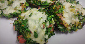 Spinach and Sea Moss Stuffed Portobello Mushrooms